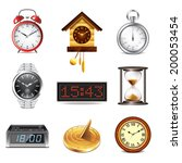 different clocks icons photo... | Shutterstock .eps vector #200053454