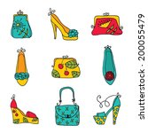 fashion collection  ladies bags ... | Shutterstock .eps vector #200055479