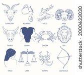 zodiac sign set. astrology... | Shutterstock .eps vector #2000633030