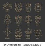 zodiac sign set. astrology... | Shutterstock .eps vector #2000633039