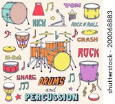 hand drawn colorful musical... | Shutterstock .eps vector #200068883