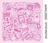 doodle communication background | Shutterstock .eps vector #200074499