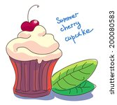 illustration of cupcake with... | Shutterstock .eps vector #200080583