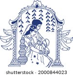 drawing or sketch of indian...   Shutterstock .eps vector #2000844023