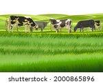a herd of cows grazes among the ...   Shutterstock .eps vector #2000865896