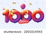 1000 followers thank you 3d... | Shutterstock .eps vector #2001014543