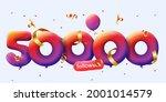 50000 followers thank you 3d...   Shutterstock .eps vector #2001014579