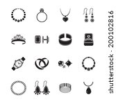 jewelry black icons set of...   Shutterstock .eps vector #200102816