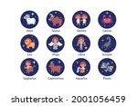 zodiac sign set. astrology... | Shutterstock .eps vector #2001056459