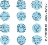 zodiac sign set. astrology... | Shutterstock .eps vector #2001056480
