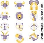 zodiac sign set. astrology... | Shutterstock .eps vector #2001056486