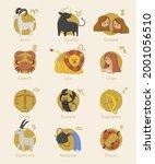 zodiac sign set. astrology... | Shutterstock .eps vector #2001056510