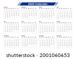 2023 calendar design with table | Shutterstock .eps vector #2001060653