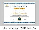 clear blue certificate design... | Shutterstock .eps vector #2001063446