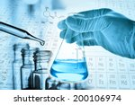 flask in scientist hand with... | Shutterstock . vector #200106974