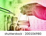 flask in scientist hand with... | Shutterstock . vector #200106980