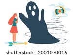 a woman in the face of fears.... | Shutterstock .eps vector #2001070016