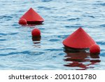 Red Buoys On The Water Surface. ...