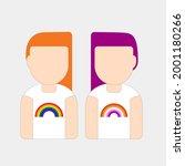 couple portrait cartoon wearing ...   Shutterstock .eps vector #2001180266