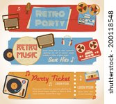 retro music party ticket... | Shutterstock .eps vector #200118548