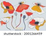wild white ande red poppy... | Shutterstock .eps vector #2001266459