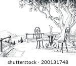 restaurant terrace sketch | Shutterstock .eps vector #200131748