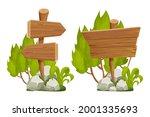 set wooden pointer  signboards...