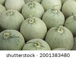 Closeup Of Japanese Melons In...