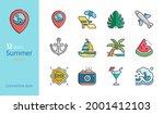 summer beach colored line...   Shutterstock .eps vector #2001412103
