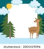 Reindeer And Blank Banner ...