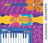 jazz festival banner with piano ... | Shutterstock .eps vector #2001446999