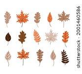 autumn fallen leaves set. maple ...   Shutterstock .eps vector #2001460586