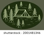 camping tent in pine forest...   Shutterstock .eps vector #2001481346