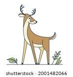 Cute Cartoon Deer Vector...