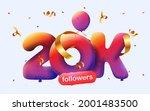 banner with 20k followers thank ... | Shutterstock .eps vector #2001483500