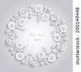 card with 3d round floral frame ...   Shutterstock .eps vector #200149448