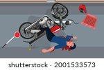 bike accident motor bike road...   Shutterstock .eps vector #2001533573
