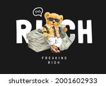 rich slogan with bear doll in... | Shutterstock .eps vector #2001602933
