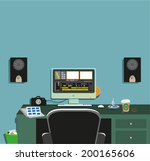 dark video editing room concept ...   Shutterstock .eps vector #200165606
