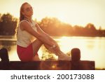 summer fashion   young woman in ... | Shutterstock . vector #200173088