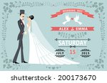 vintage wedding invitation... | Shutterstock .eps vector #200173670