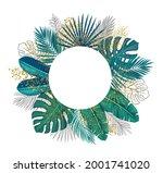 green tropical leaves frame... | Shutterstock .eps vector #2001741020