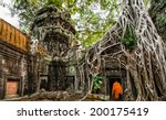 Buddhist Monk At Angkor Wat....