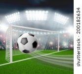 soccer ball flies into the goal   Shutterstock . vector #200182634