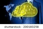 cloud computing touchscreen... | Shutterstock . vector #200183258