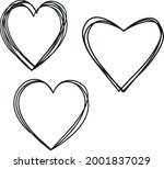 hearts outlined out line heart...   Shutterstock .eps vector #2001837029