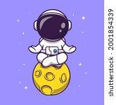 cute astronaut meditation on... | Shutterstock .eps vector #2001854339