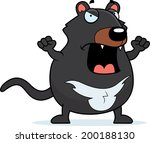 A cartoon Tasmanian devil with an angry expression. - stock vector
