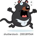 A cartoon Tasmanian devil running in a panic.