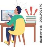 surprised boy at computer semi...   Shutterstock .eps vector #2001901670
